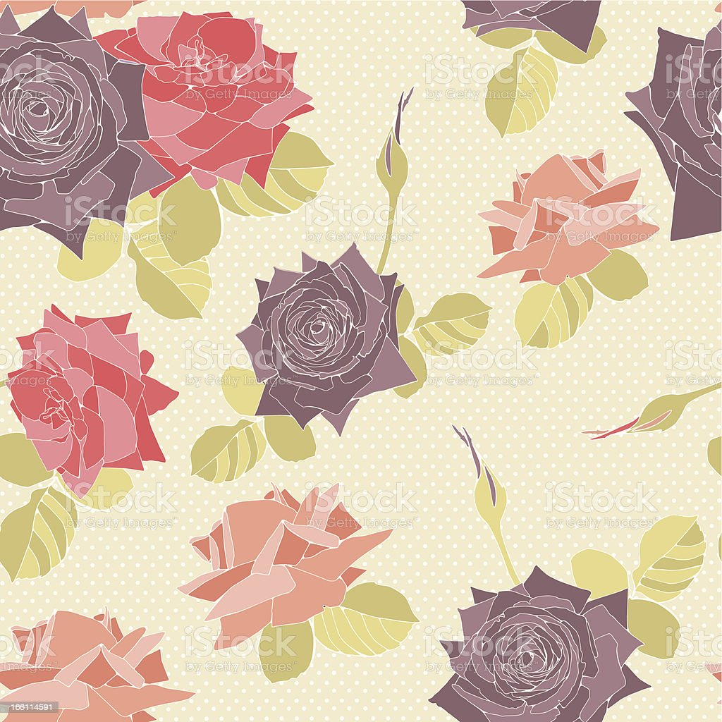 Delicate pattern with roses flowers. Seamless background royalty-free stock vector art