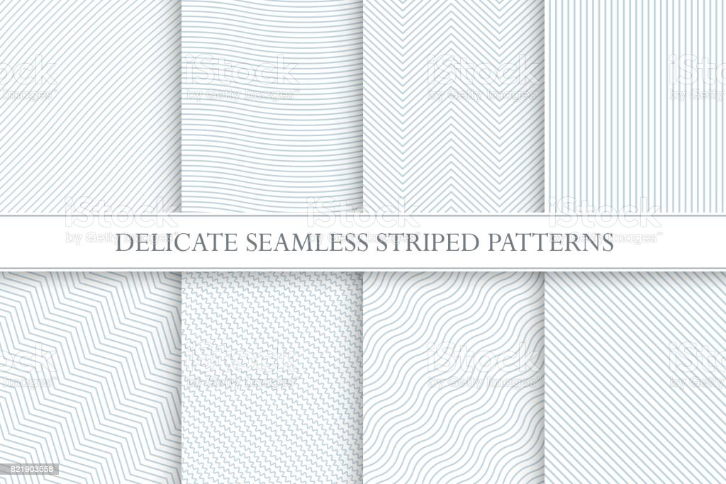 Delicate seamless striped patterns. Decorative fabric geometric textures. vector art illustration