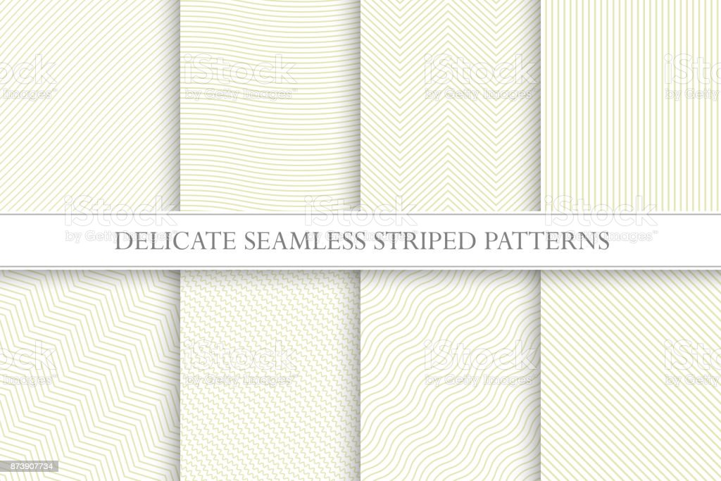 Delicate seamless striped patterns. Fabric textures. Tileable swatches vector art illustration