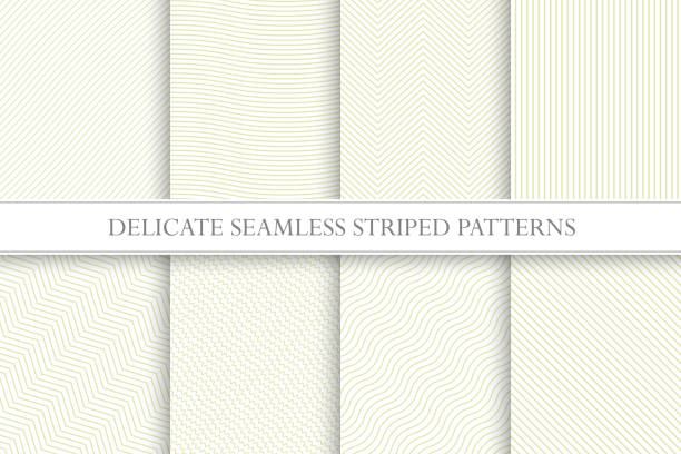 delicate seamless striped patterns. fabric textures. tileable swatches - бесшовный узор stock illustrations