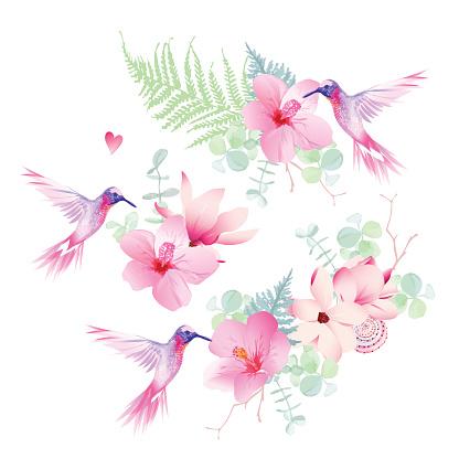 Vetores De Delicadas Flores Tropicais Com Desenho Vetorial