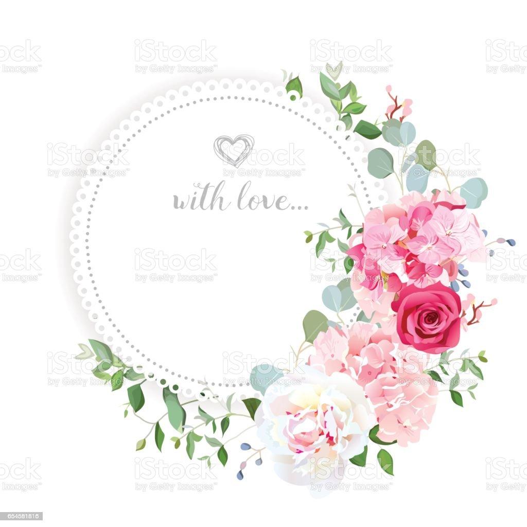 繊細な結婚式花のベクトルのデザイン カードです I Love Youのベクター
