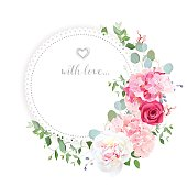Delicate wedding floral vector design card. Half moon shape bouquet. Peony, rose, hydrangea, eucalyptus. Colorful objects set. All elements are isolated and editable.
