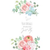 Delicate wedding floral vector design card. Bouquet frame. White peony, peachy rose, ranunculus, carnation, succulents, eucalyptus. Colorful flower objects set. All elements are isolated and editable