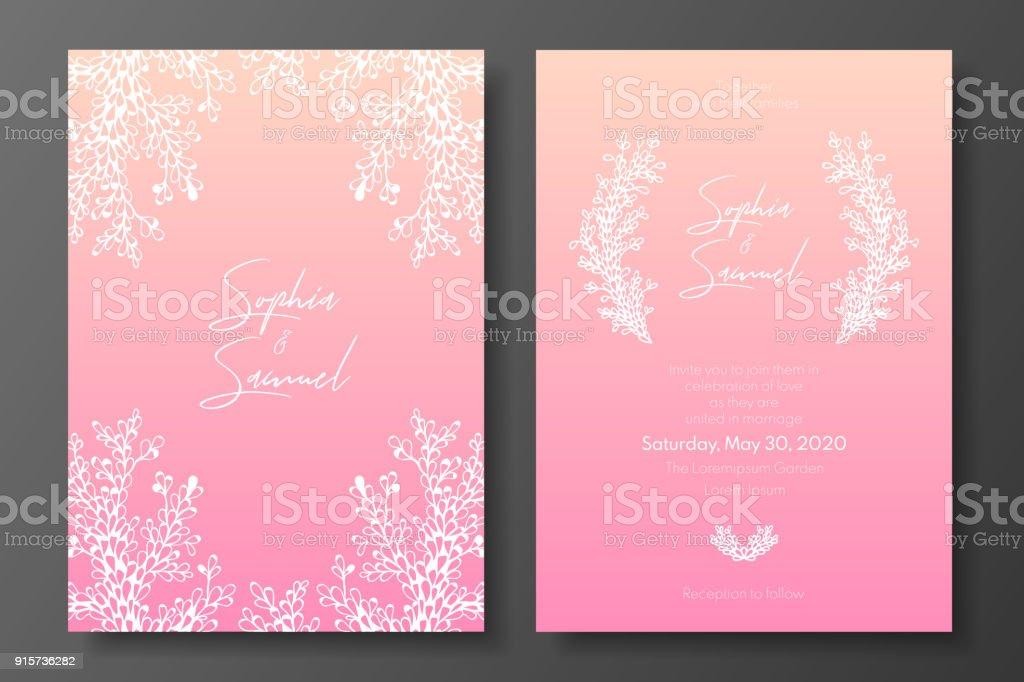 Zarte Hochzeit Einladung Vorlagen. Rosa Design Mit Abstrakten Weiß  Pflanzen. Eine Luxuriöse Tepmlates Für
