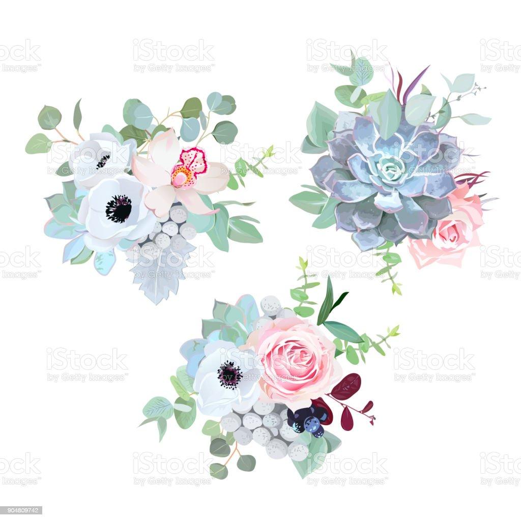 delicate wedding seasonal flowers vector design bouquets