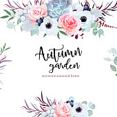 Delicate wedding seasonal flowers vector design card