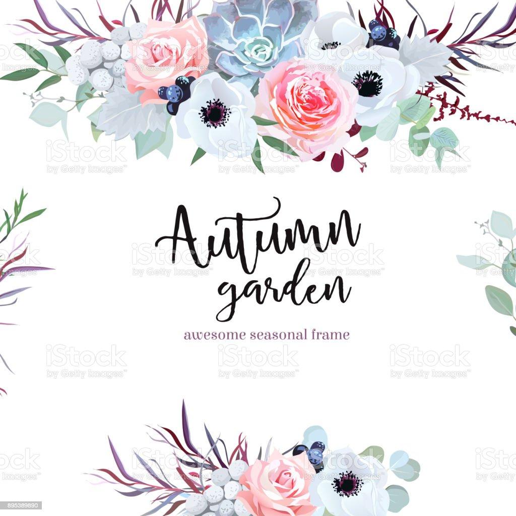 Vector de flores de temporada boda delicada tarjeta de diseño - ilustración de arte vectorial