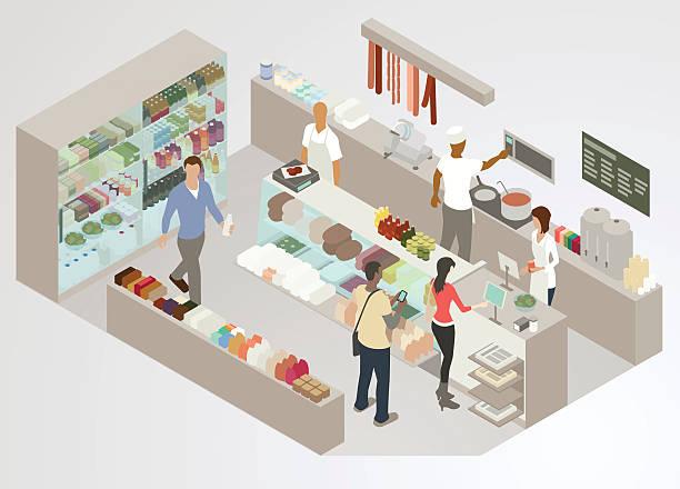 ilustrações, clipart, desenhos animados e ícones de fornecedor de mantimentos ilustração - delicatessen