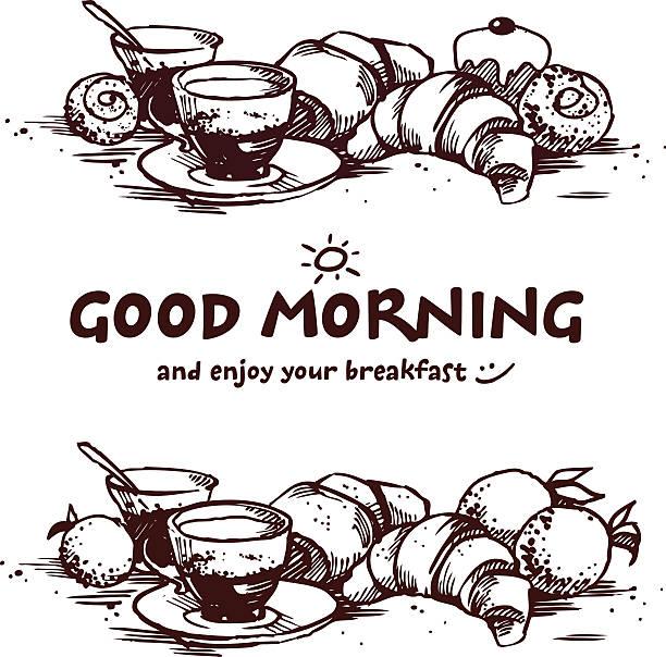 Delicios breakfast vector art illustration