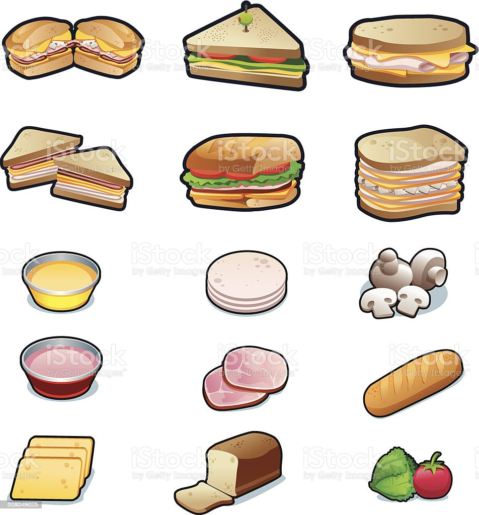 Delicious and cute Sandwiches and ingredients set vector illustration vector art illustration