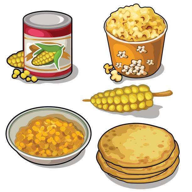 leckeren und nahrhaften mais in fünf arten gesetzt - tortillas stock-grafiken, -clipart, -cartoons und -symbole