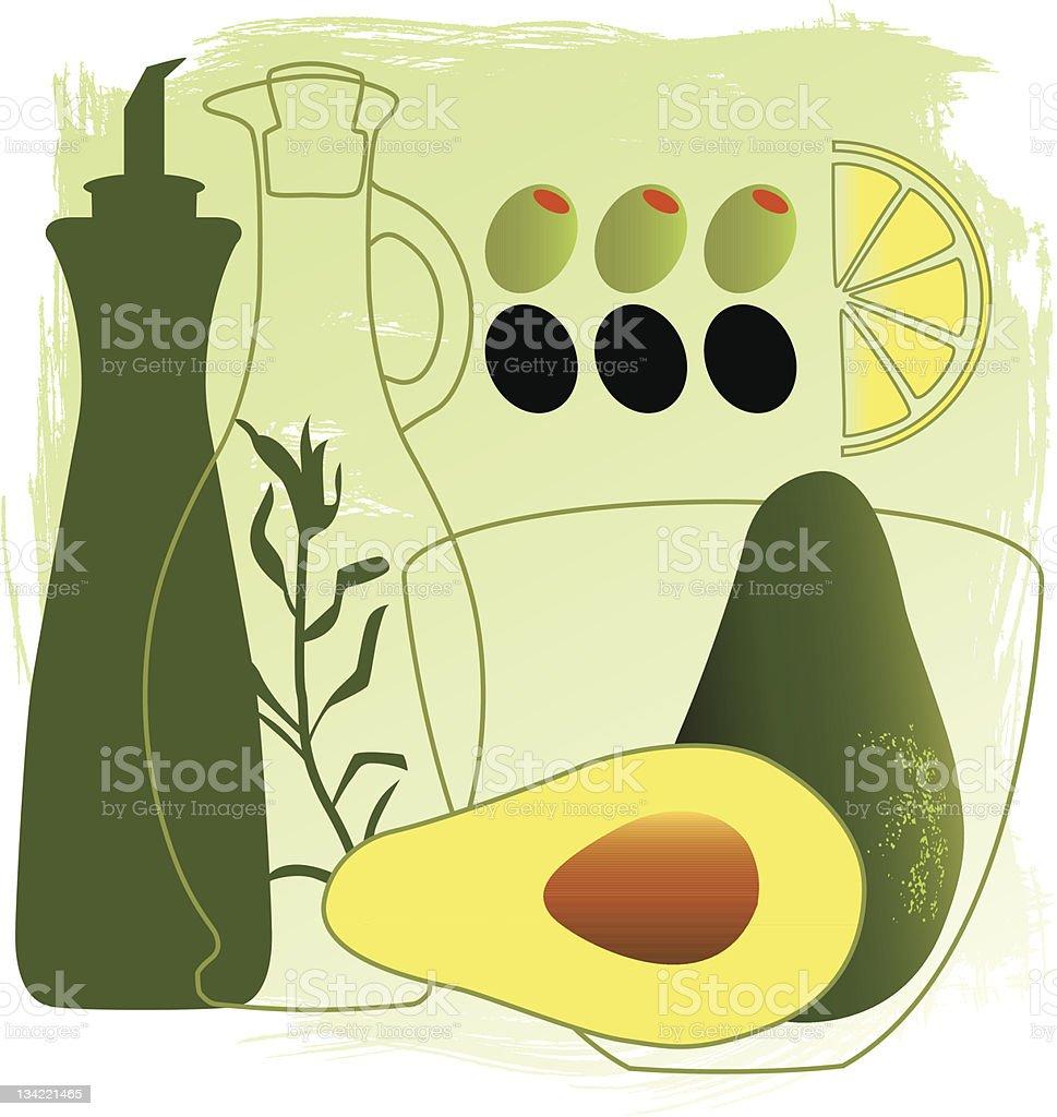 Delicious avocado salad project royalty-free stock vector art
