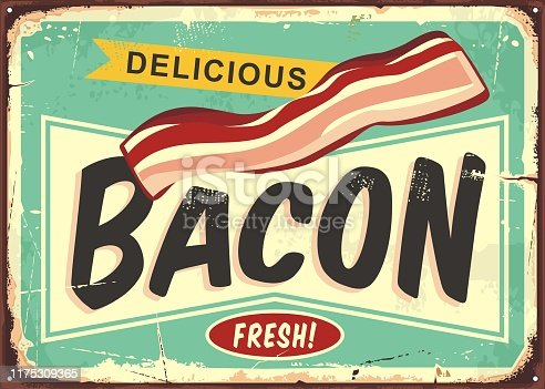 Delicious bacon retro sign. Fresh smoked meat product promo poster. Vector comic style butchery shop illustration.
