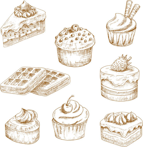 Delicious bakery and pastries sketches vector art illustration