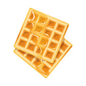 Beautiful vector design illustration of belgian delicious waffle with honey on top isolated on white background