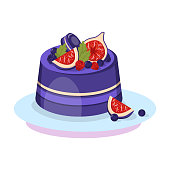 Delicious Berry Cake Cartoon Vector Illustration
