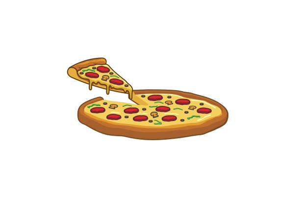 delicious big tray of pizza slice logo - pizza stock illustrations
