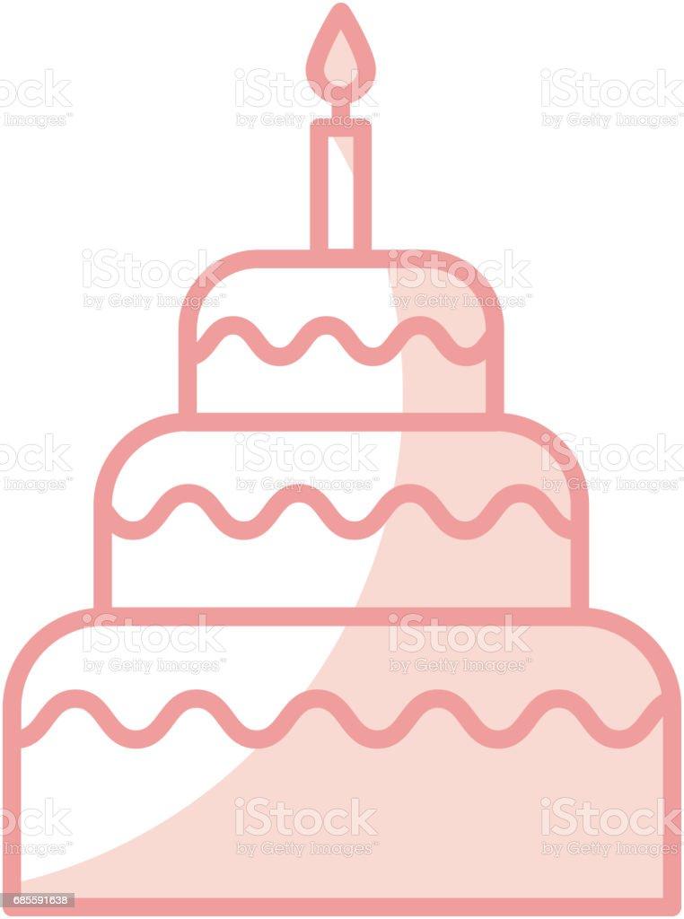 美味的生日蛋糕圖示 免版稅 美味的生日蛋糕圖示 向量插圖及更多 側影 圖片
