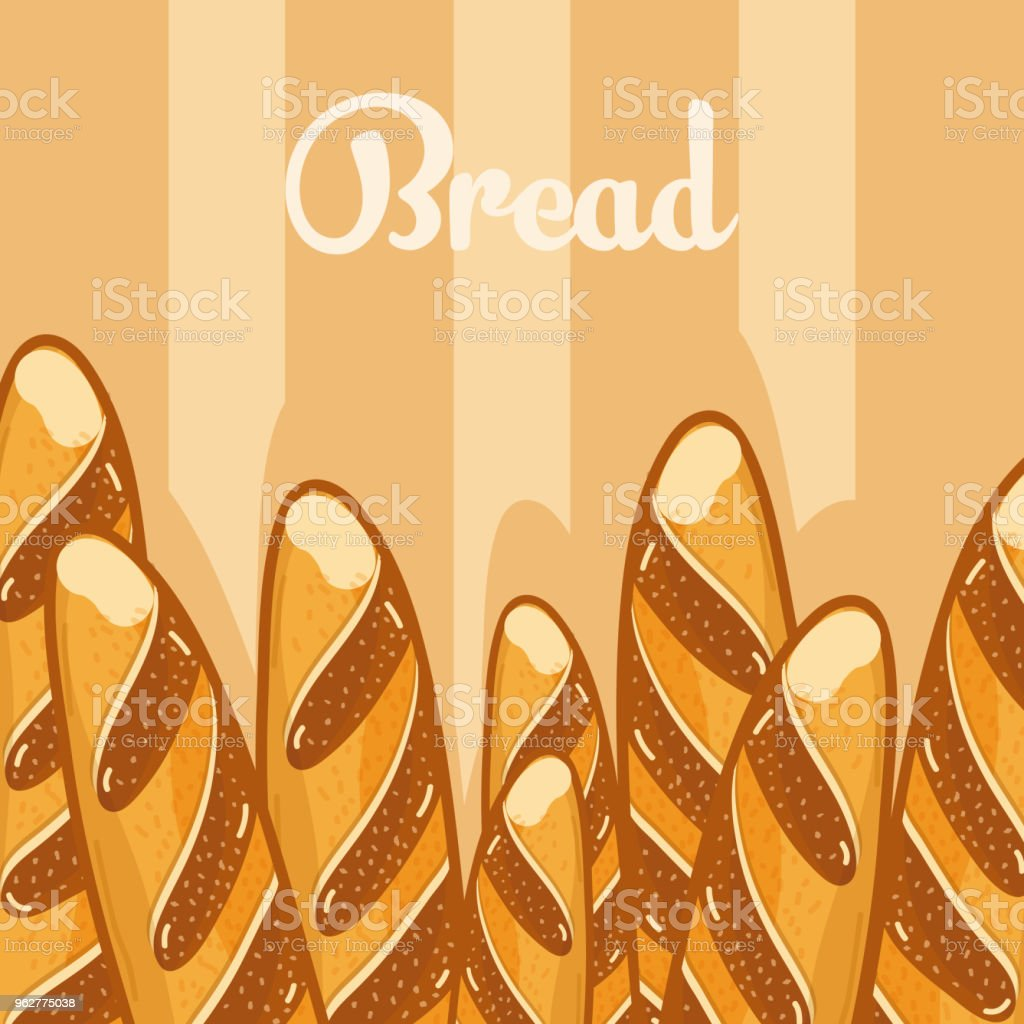 Delicious breads cartoons vector art illustration