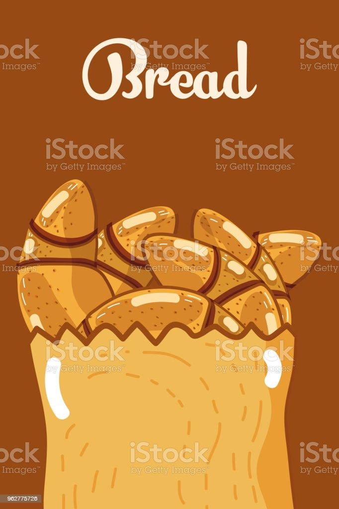 Delicious breads inside paper bag vector art illustration