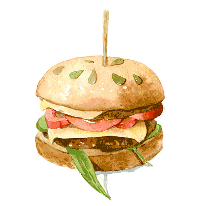 Delicious Burger with cheese, tomato and lettuce on a bun with pumpkin seeds. Watercolor illustration isolated on white background. Vector