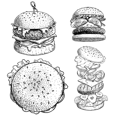 Delicious burgers set. Hand drawn sketch style drawings of different burgers. With bamboo stick, top and perspective view, burger constructor. Fast food retro vector illustrations collection isolated on white background.