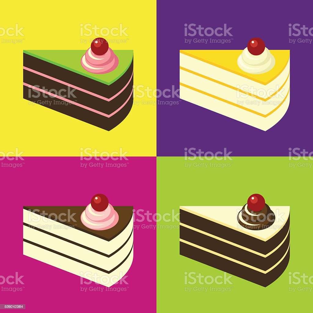 Delicious Cakes on Colourful Tiled Background. Pop-art Style. royalty-free delicious cakes on colourful tiled background popart style stock vector art & more images of art