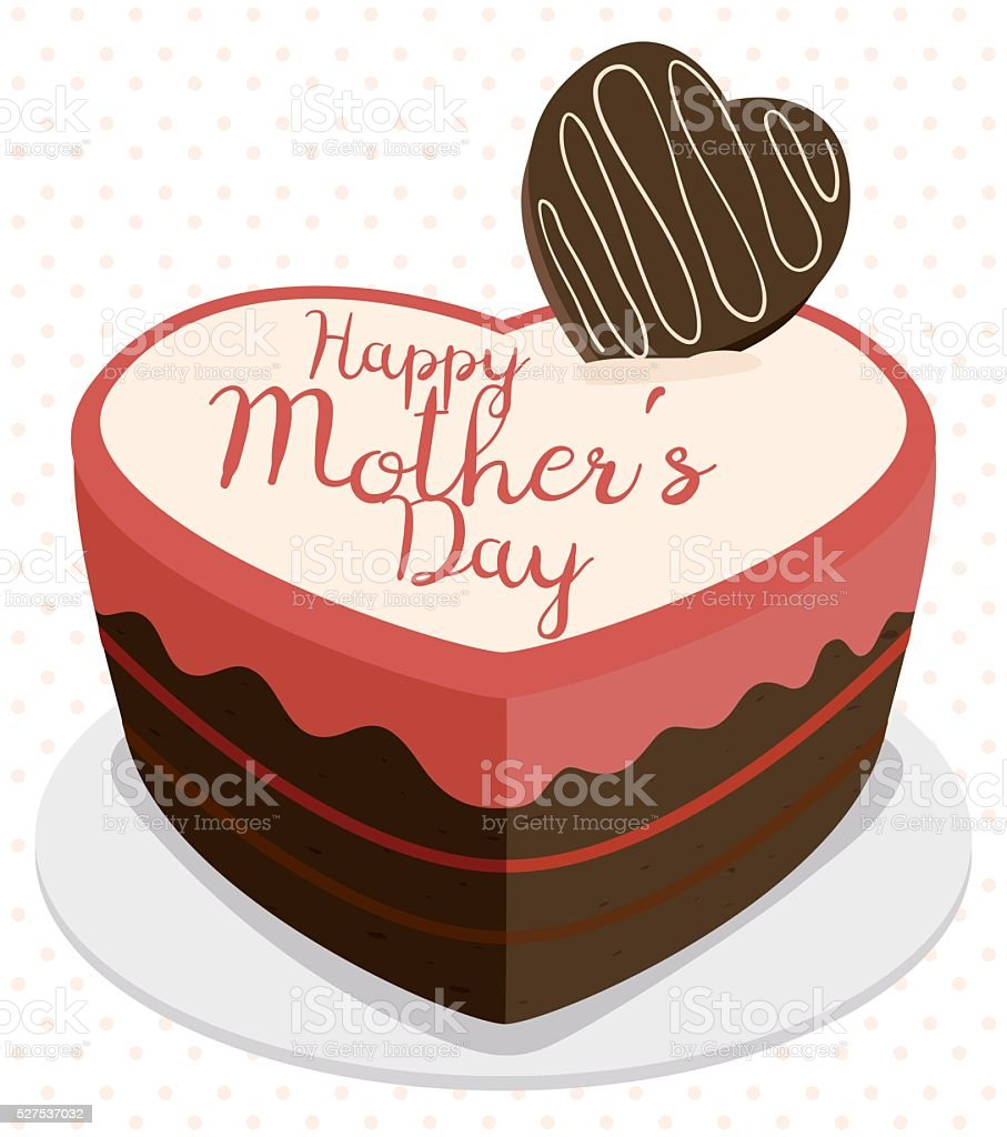 Delicious Chocolate Cake For Mothers Day Stock Vector Art More