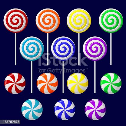 Vector set with colorful candies on dark background