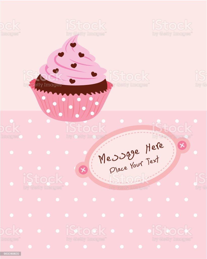 Leckere Cupcake Muffin Geburtstag Grusskarte Vektor Stock Vektor Art