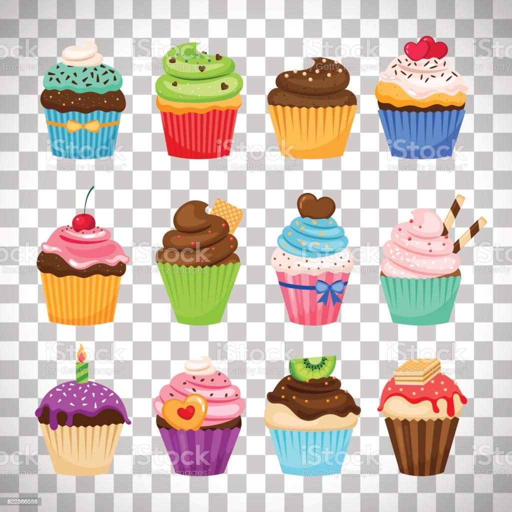 Delicious cupcakes set on transparent background vector art illustration