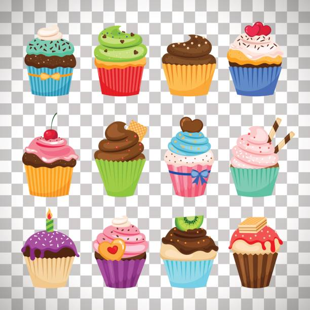 Delicious cupcakes set on transparent background Delicious cupcakes and vector sprinkles muffin set isolated on transparent background cupcake stock illustrations