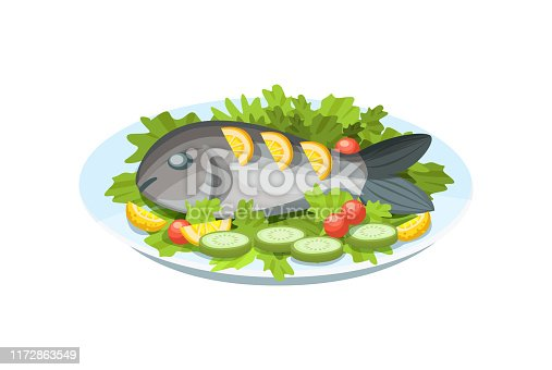 Festive seafood specialties, modern delicacies with a beautiful presentation on the plate. Delicious dish - tender fish meat, with greens, lemon and vegetables. Cartoon vector.