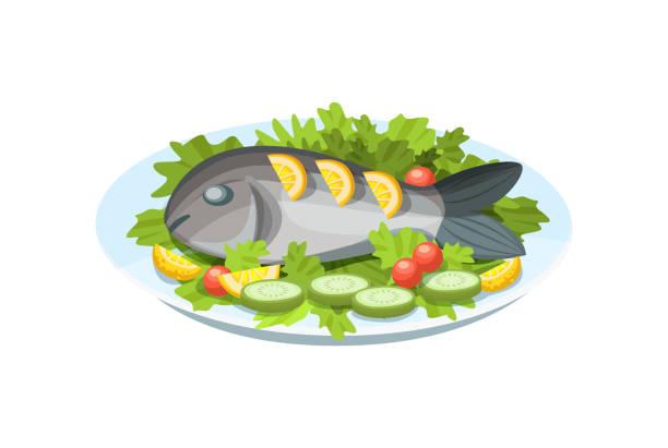 ilustrações de stock, clip art, desenhos animados e ícones de delicious dish - tender fish meat, with greens, lemon and vegetables. - loiça