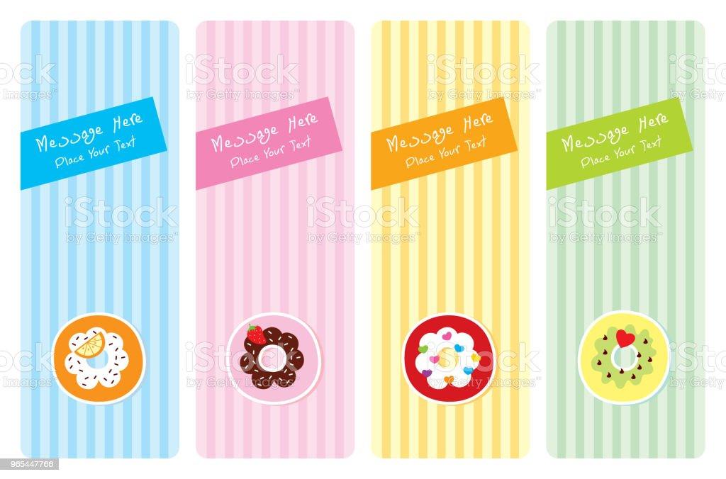 delicious donut greeting card set - Grafika wektorowa royalty-free (Baby Shower)