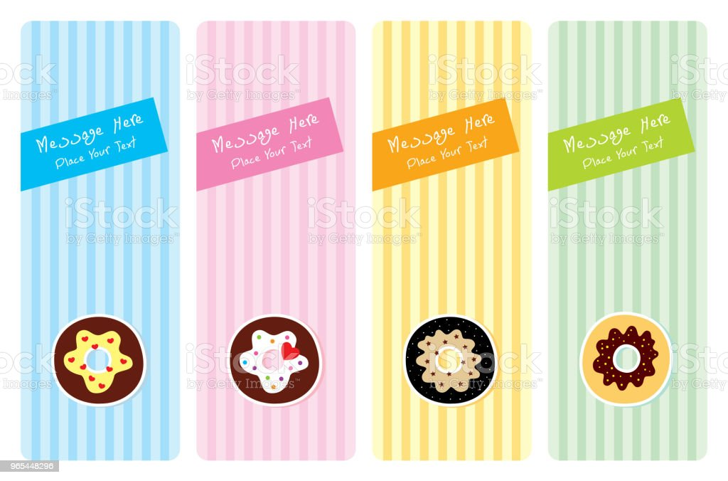 delicious donut greeting card set royalty-free delicious donut greeting card set stock vector art & more images of anniversary