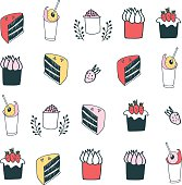 Delicious food desserts set cake muffin cupcake strawberry milkshake drinks Vector illustration