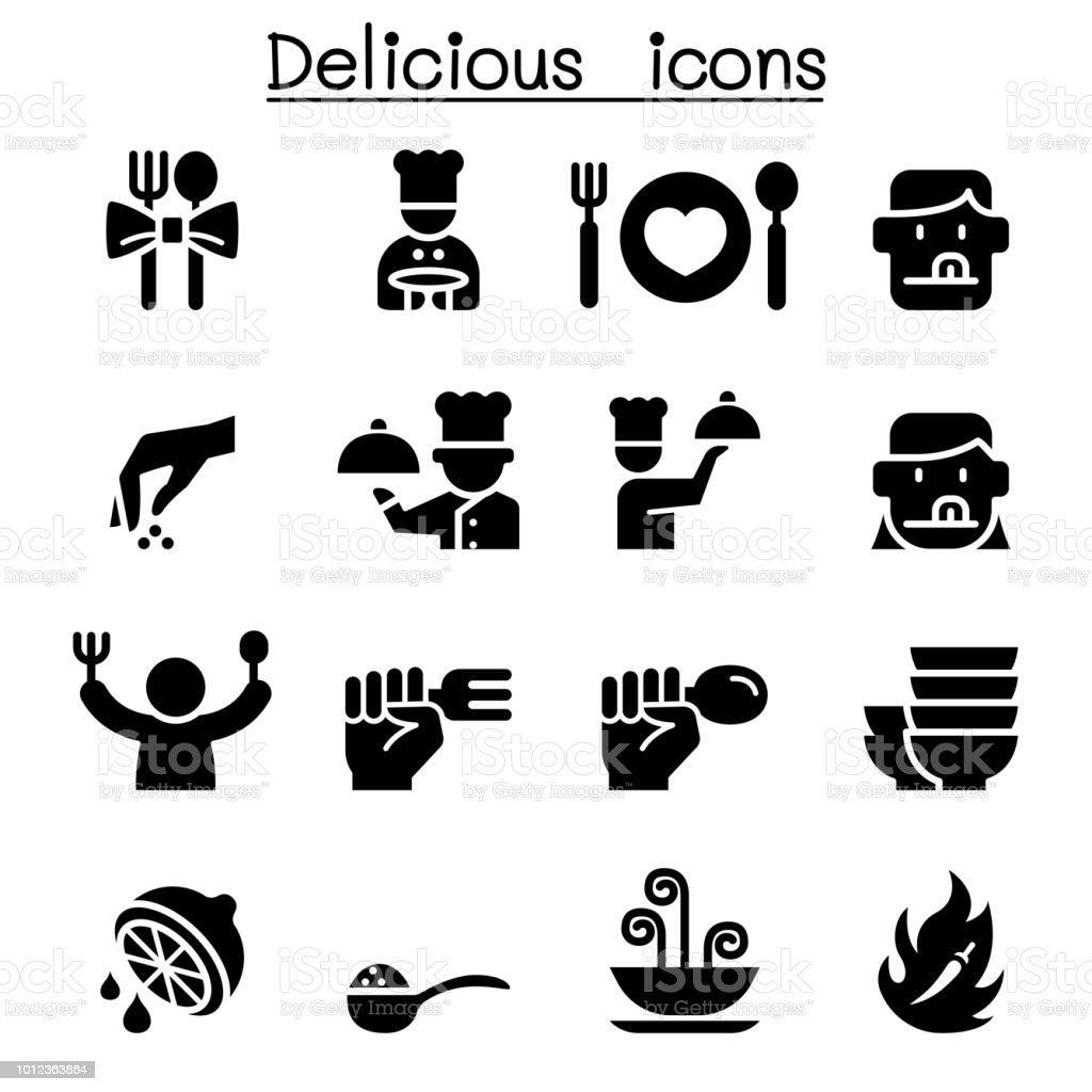 Conjunto de iconos de comida deliciosa - ilustración de arte vectorial