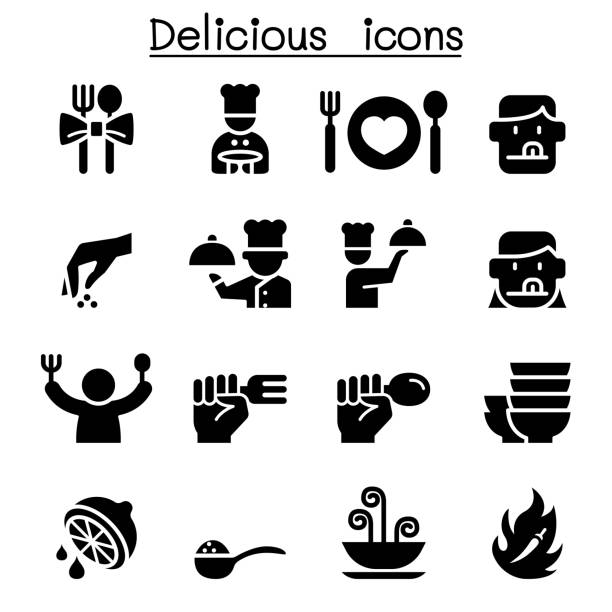 delicious food icon set - fine dining stock illustrations, clip art, cartoons, & icons