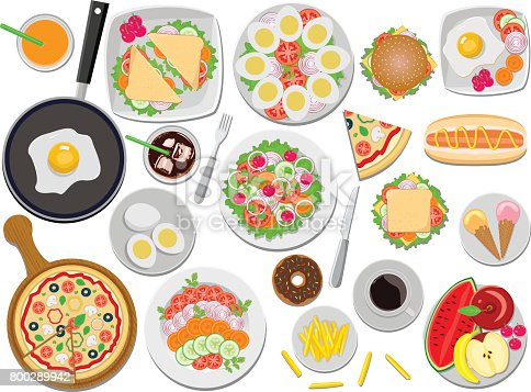 Delicious Food in this file flat color and gradiation color used,clipping mask yes, all elements separate grouped and separate layered and easy to edit for similar images visit my portfolio