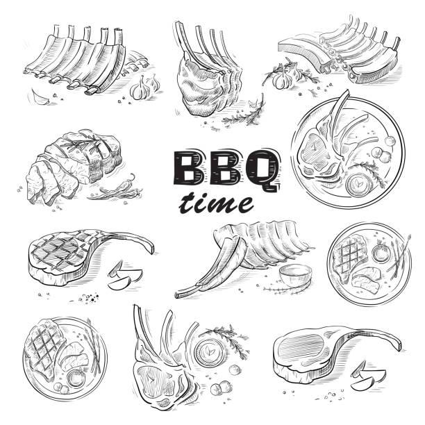 맛 있는 튀김된 고기 스테이크 흰색 배경에 고립 - 소고기 stock illustrations