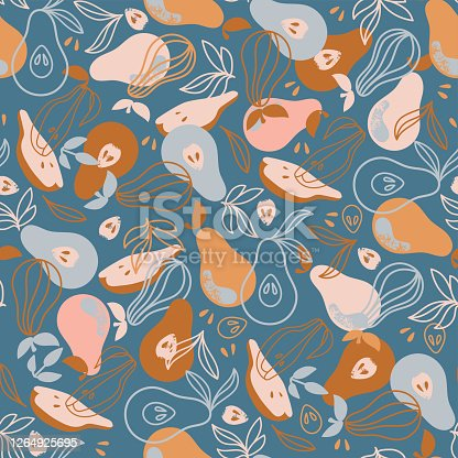 istock PEAR FABRIC Delicious Fruit Hand Drawn Seamless Pattern Vector 1264925695