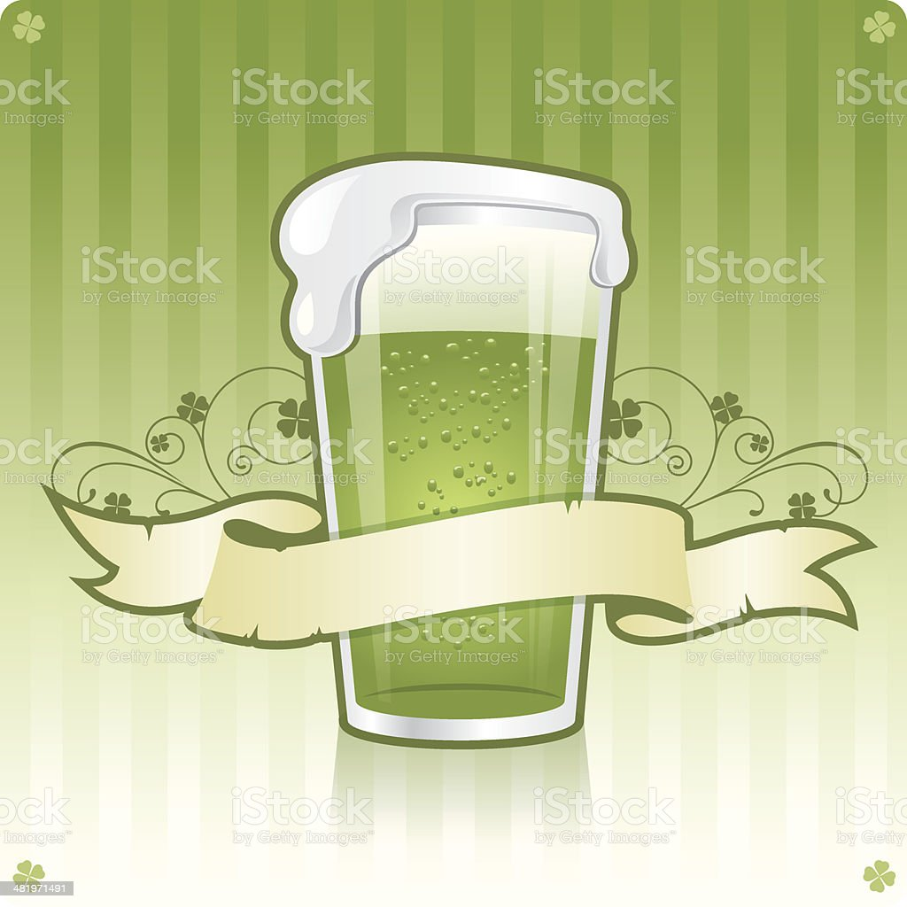 Delicious green Irish beer in glass with banner and scroll royalty-free stock vector art