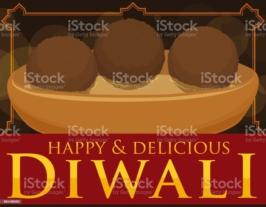 Delicious Gulab Jamun in Syrup on Bowl for Diwali Celebration vector art illustration
