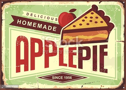 Delicious homemade apple pie retro promotional advertising sign. Vintage bakery poster.