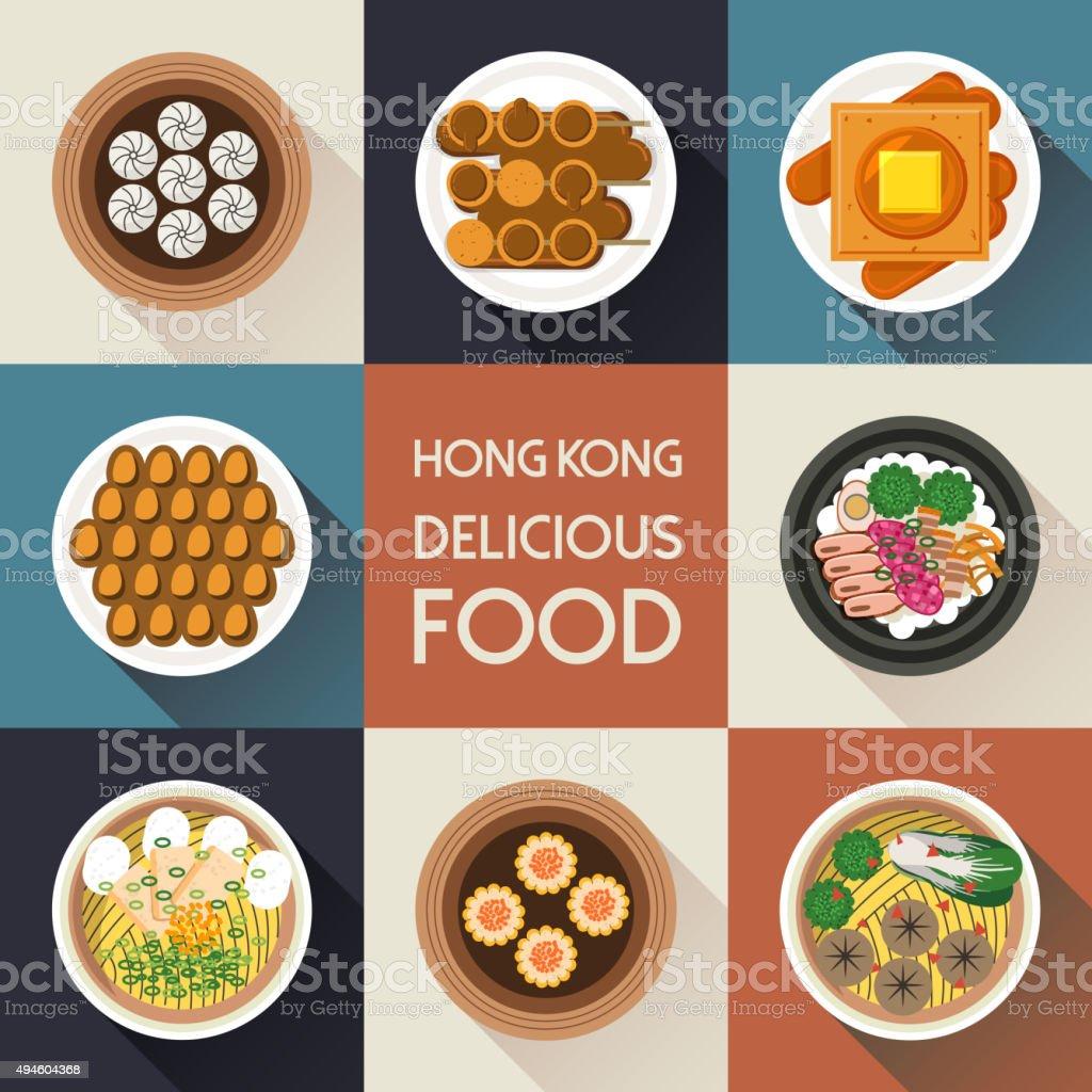 delicious Hong Kong dishes vector art illustration