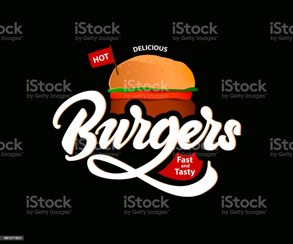 Delicious hot burgers vector design with lettering. Fast food . Vector vector art illustration