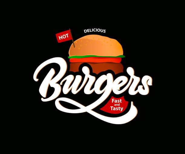 おいしいホット ハンバーガーはベクトル レタリングとデザインです。ファーストフード。ベクトル - ハンバーグ料理点のイラスト素材/クリップアート素材/マンガ素材/アイコン素材