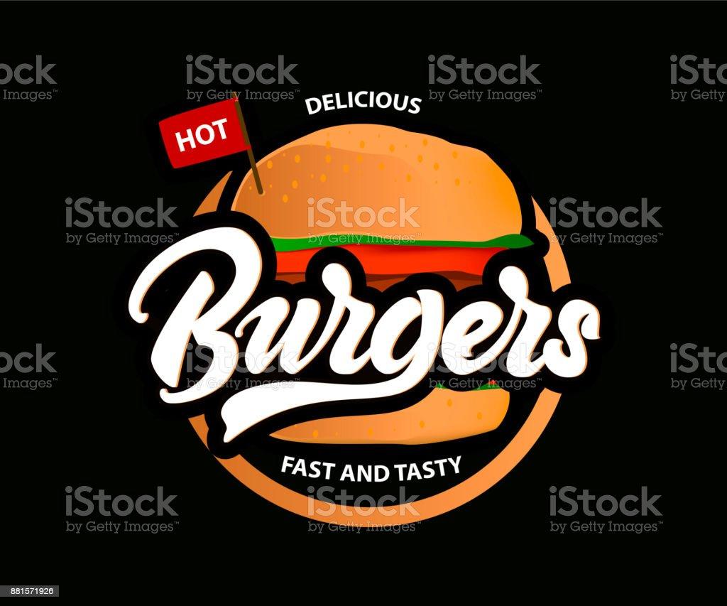 Ilustración De Deliciosas Hamburguesas Caliente Vector Logo Con